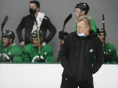 Dallas Stars head coach Rick Bowness watches his team workout during a training camp practice at the Comerica Center on Wednesday, Jan. 6, 2021, in Frisco.