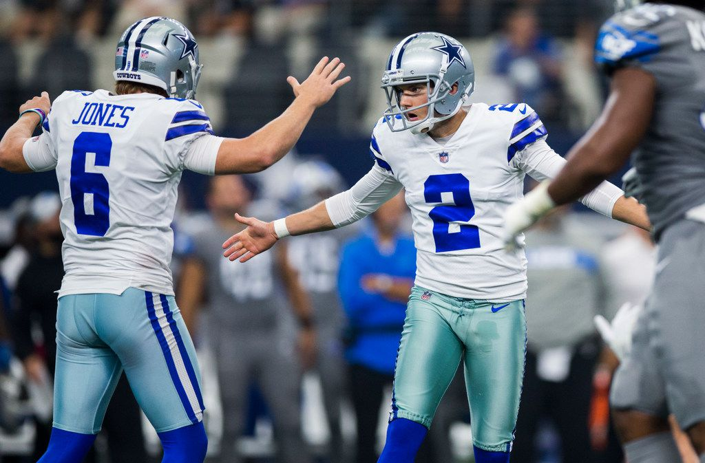 Dallas Cowboys kicker Brett Maher (2) celebrates with punter Chris Jones (6) after kicking the winning field goal during the fourth quarter of an NFL football game between the Dallas Cowboys and the Detroit Lions on Sunday, September 30, 2018 at AT&T Stadium in Arlington, Texas. Cowboys won 26-24. (Ashley Landis/The Dallas Morning News)