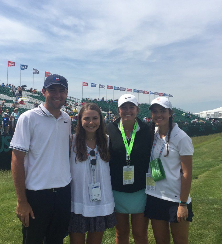 Scottie Scheffler and his family pose Wednesday at Erin Hills.  The kids are, left-to-right, Scottie, Sara (who will be a sophomore at UT), Callie (who is caddying for Scottie this week and recently got a graduate degree in marketing from A&M and Molly (who will be a senior at Highland Park and is on the golf team).