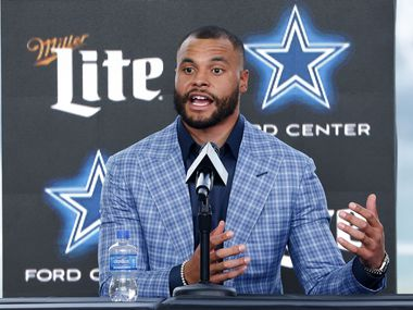 Dallas Cowboys quarterback Dak Prescott responds to media questions at The Star in Frisco, Texas after signing a 4-year, $160 million contract with the team, Wednesday, March 10, 2021.