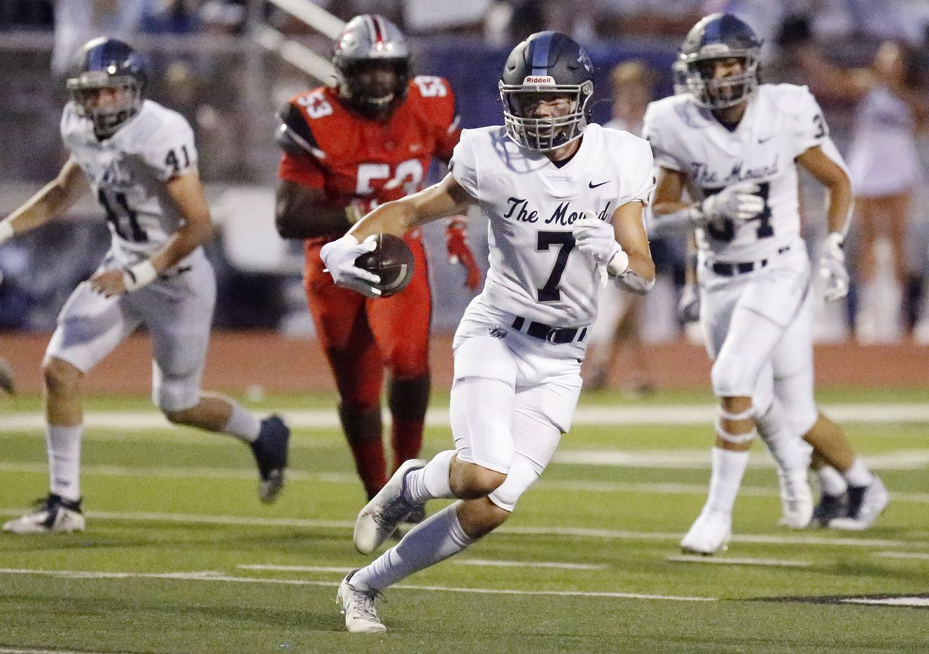 Flower Mound High School safety Cade Harwell (7) runs with an interception during the first half as Flower Mound Marcus hosted Flower Mound High School in a district 6-6A football game at Marauder Stadium in Flower Mound on Friday night, September 24, 2021. (Stewart F. House/Special Contributor)