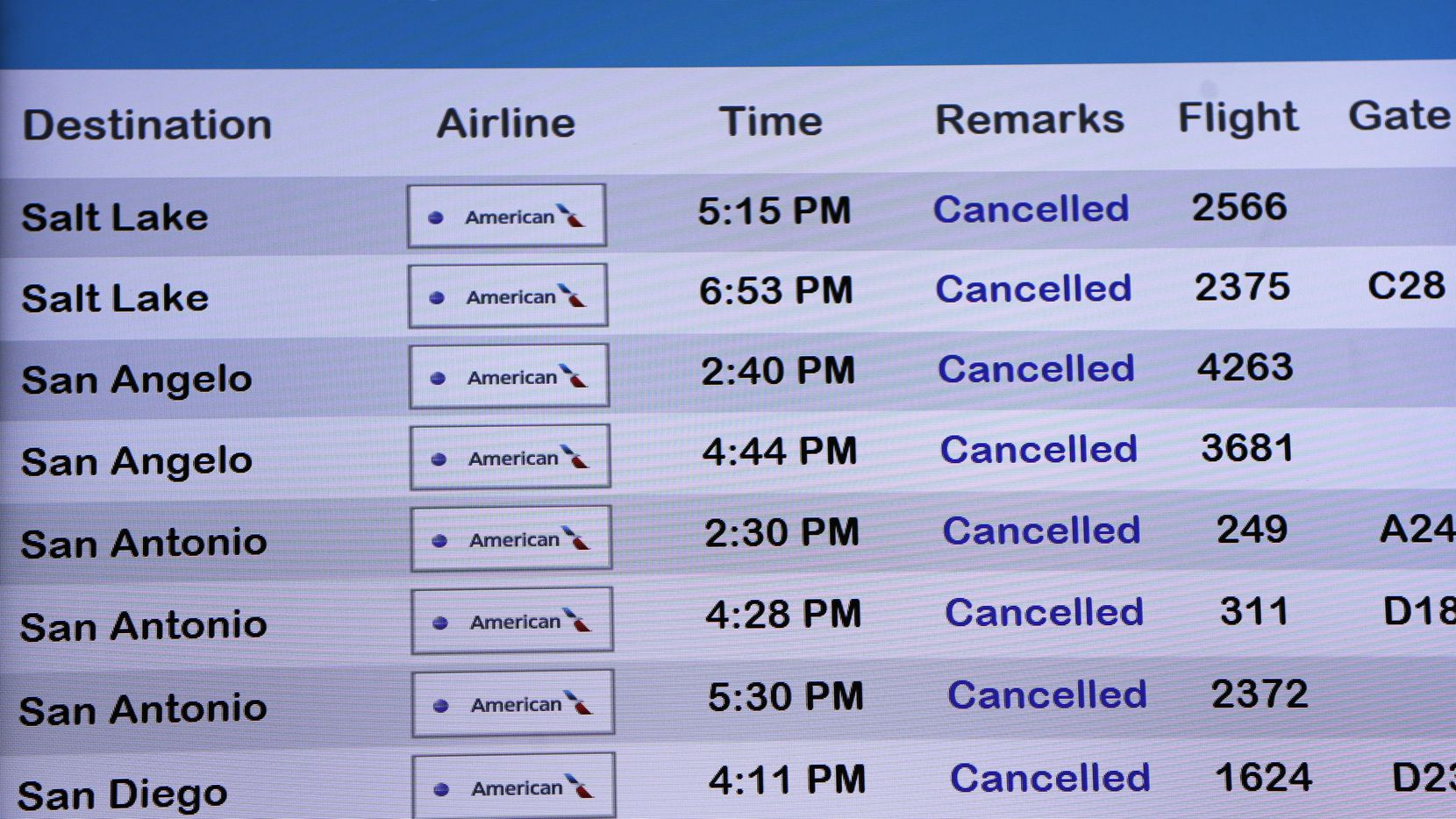 Cancelled flights on the departures screen in terminal C at DFW International Airport on Wednesday, April 8, 2020. The coronavirus pandemic has made an impact on the travel industry. (Vernon Bryant/The Dallas Morning News)
