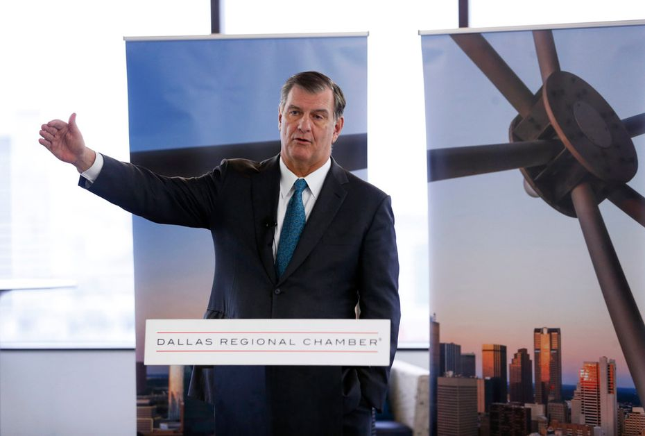 Dallas mayor Mike Rawlings speaks during a press conference about losing the Amazon bid at the Dallas Regional Chamber office in Dallas on Tuesday, November 13, 2018.