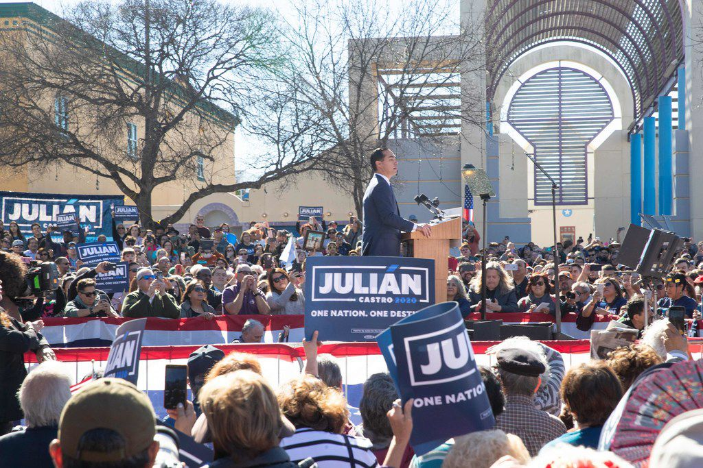 Former United States Secretary of Housing and Urban Development Julià n Castro announces his candidacy for President of the United States in his hometown of San Antonio, Texas on January 12, 2019. (Photo by SUZANNE CORDEIRO / AFP)SUZANNE CORDEIRO/AFP/Getty Images
