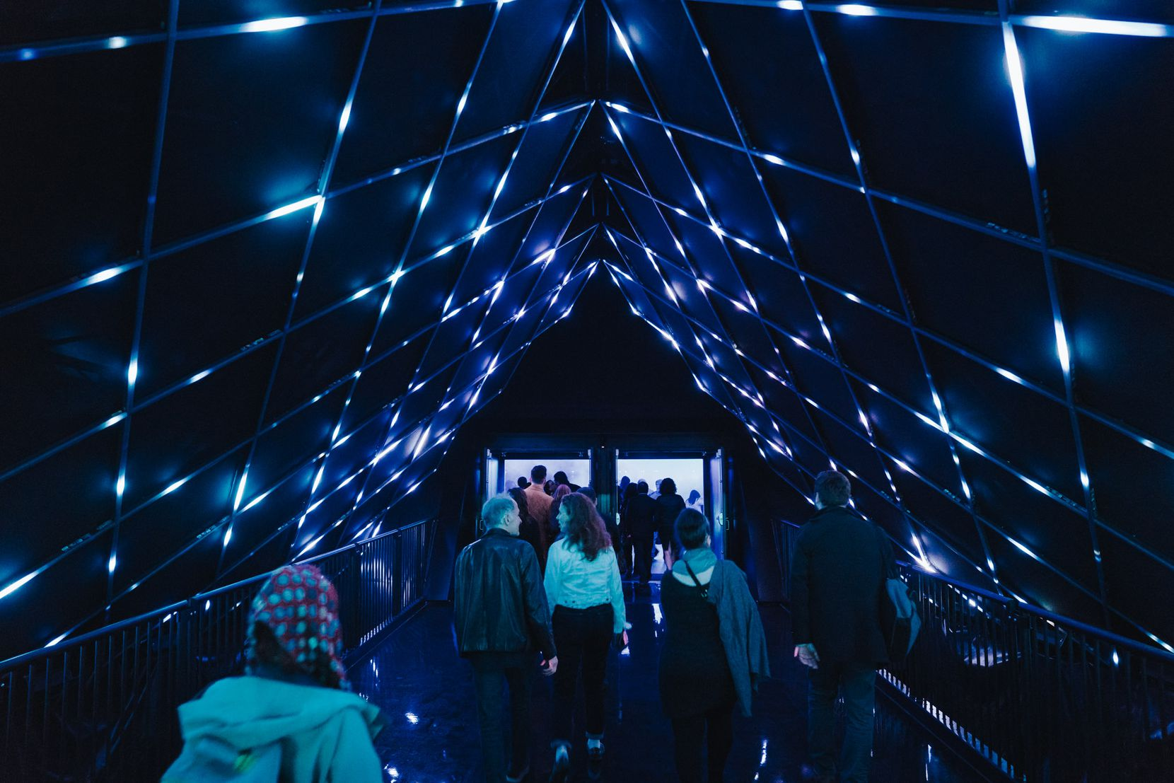 """Inside PY1's 81-foot-tall pyramid-shaped space, guests can view two shows — """"Stella: The Time Machine Journey"""" and """"Through the Echoes"""" — or attend PY1 Nights, a nightlife experience with DJs."""