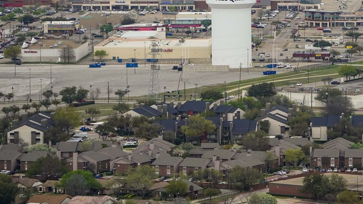 Aerial view of water tower and retail businesses along  North Town East Boulevard on Thursday, March 12, 2020, in Mesquite.