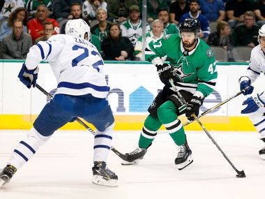 Dallas Stars right wing Alexander Radulov (47) positions himself to score a first period goal against  Toronto Maple Leafs defenseman Nikita Zaitsev (22) at the American Airlines Center in Dallas, Tuesday, October 9, 2018.