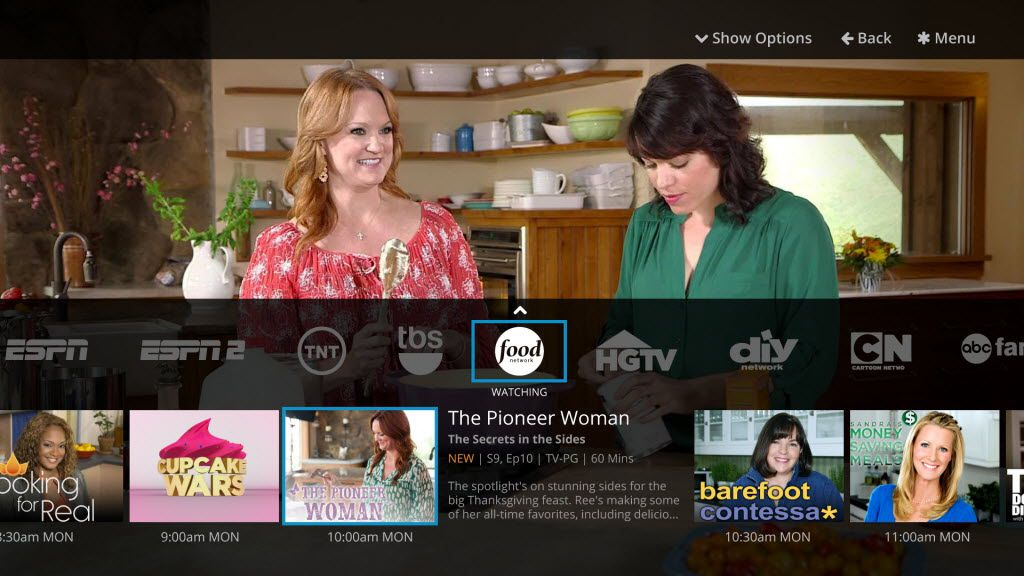 The Sling TV app provides a quick view of network programming.