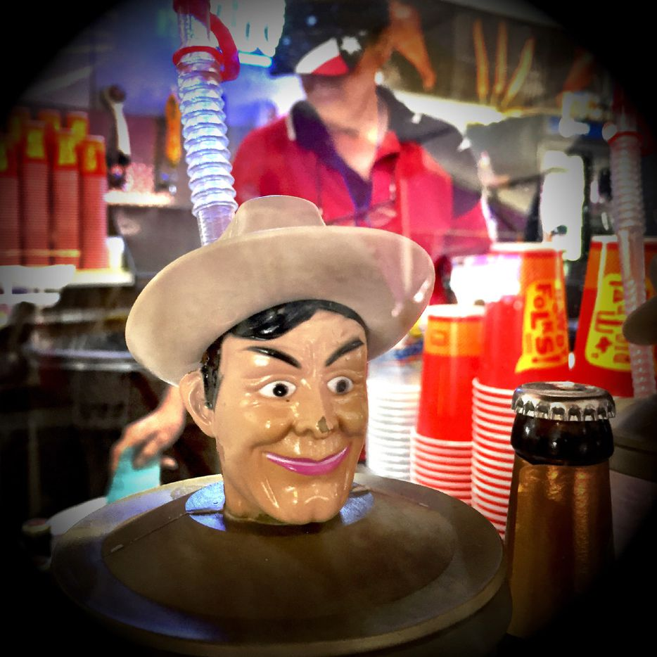 Big Tex souvenir cup topper. State Fair of Texas, Monday Oct. 10, 2016 (Guy Reynolds/The Dallas Morning News)