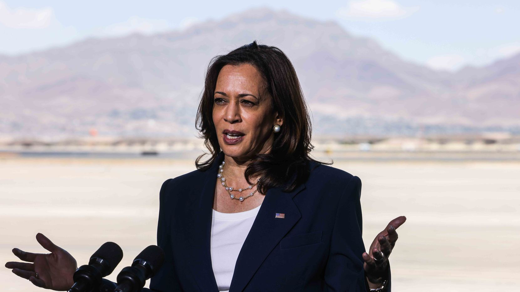 Vice President Kamala Harris speaks with news media at the end of her El Paso border visit on Friday, June 25, 2021.