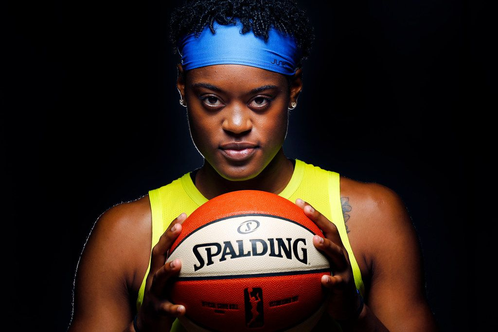 Dallas Wings basketball player Kaela Davis (3) poses for a photo during media day at College Park Center in Arlington, Texas, Monday, May 20, 2019. (Tom Fox/The Dallas Morning News)