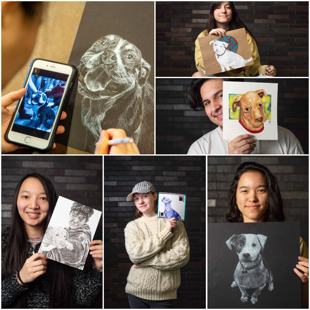 (top left) Grace Biltz works on a drawing of a dog in need of adoption on Feb. 3, 2020 at Booker T. in Dallas. Resulting works are shown by (clockwise from top right) Marisa Acosta, Michael Sanchez, Daniella Castanheira, Jade New and Biltz. Portraits taken Feb. 12, 2020.