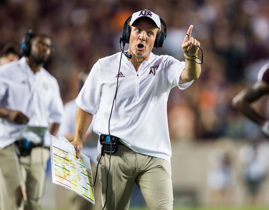 Texas A&M Aggies head coach Jimbo Fisher disputes a call that Texas A&M Aggies wide receiver Quartney Davis (1) fumbled the ball before reaching the goal line during the fourth quarter of a college football game between the Clemson Tigers and the Texas A&M Aggies on Saturday, September 8, 2018 at Kyle Field in College Station, Texas.