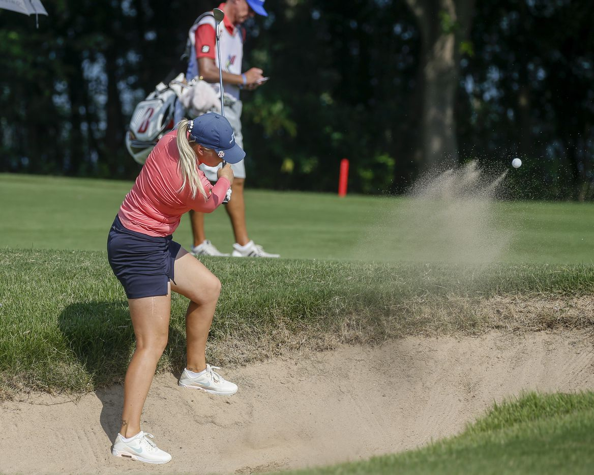 Professional golfer Matilda Castren plays out of the No. 13 fairway side bunker during the final round of the LPGA VOA Classic on Sunday, July 4, 2021, in The Colony, Texas. (Elias Valverde II/The Dallas Morning News)