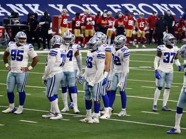 The Dallas Cowboys defense waits for play to resume during the fourth quarter against the San Francisco 49ers at AT&T Stadium in Arlington, Texas, Sunday, December 20, 2020. The Cowboys won, 41-33.