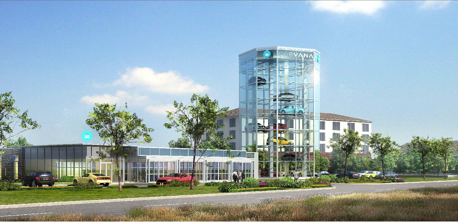 Arizona-based Carvana is building a seven-story auto sales tower on State Highway 121 just north of Toyota's new headquarters.