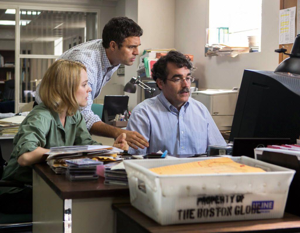 "Rachel McAdams, from left, as Sacha Pfeiffer, Mark Ruffalo as Michael Rezendes and Brian d'Arcy James as Matt Carroll, in a scene from the film, ""Spotlight."""