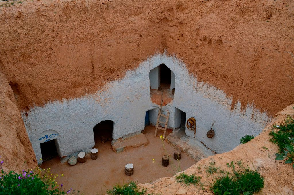 A traditional underground Berber home that's been turned into a museum. The home is near Matmata, a town in southern Tunisia known both for its Berber inhabitants and as a setting for the filming of the original Star Wars. Southern Tunisia is a remote and otherworldly region that extends into the dunes of the Sahara Desert.