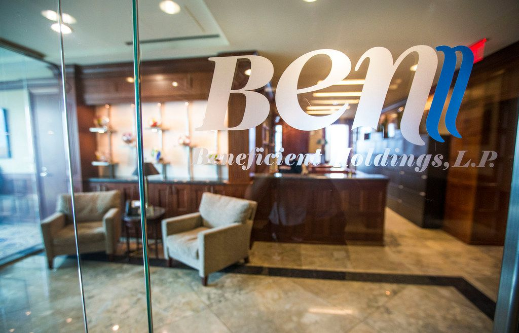 The company logo at Beneficient, a new financial services company in Dallas that turns assets into cash for high-net-worth individuals, institutions and private equity funds.