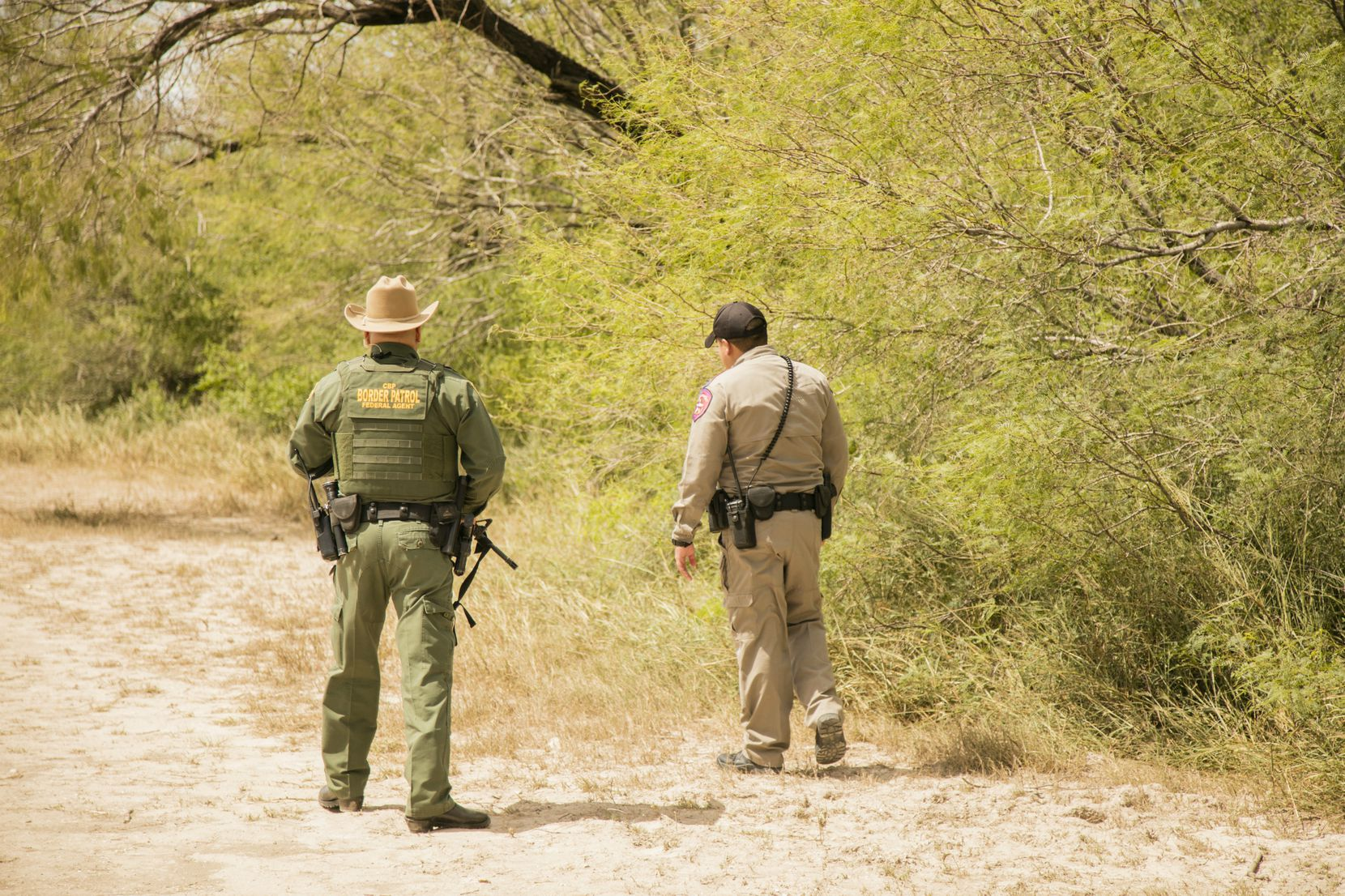 """Members of a so-called Cortina unit patrol a part of the challenging terrain in the Rio Grande Valley. DPS regional commander Jose Rodriguez has credited the partnership with helping troopers """"get off the blacktop."""" (Department of Public Safety)"""