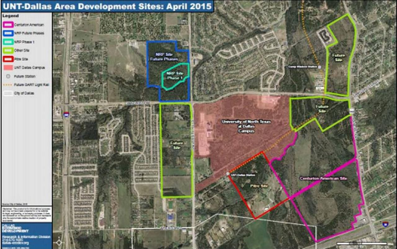 The current area plan for UNT Dallas shows a planned Centurion American development known as University Hills and Former Dallas Cowboy PEttis Norman's plan known on the map as NRP.