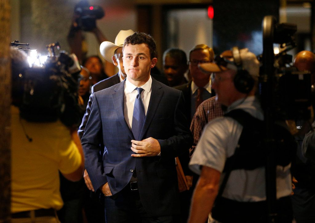 Former Texas A&M and Cleveland Browns quarterback Johnny Manziel makes a court appearance at the Frank Crowley Courts Building in Dallas, on Thursday, May 5, 2016. Manziel reported to court Thursday for the first time since a Dallas County grand jury indicted him last month on a misdemeanor domestic violence charge. Former girlfriend Colleen Crowley has accused him of kidnapping, hitting and threatening to kill her in January. (Vernon Bryant/The Dallas Morning News) ORG XMIT: DMN1605051000596003