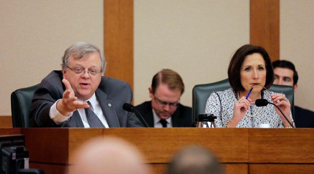 Texas Sen. Paul Bettencourt, R-Houston, left, and Sen. Lois Kolkhorst, R-Brenham, talked about Senate Bill 6, the so-called bathroom bill, last week in the Senate State Affairs Committee. (AP Photo/Eric Gay)