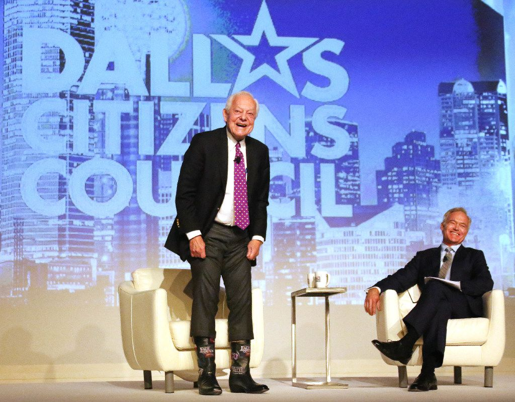 The Dallas Citizens Council, a group of business executives, hosts events around town. In 2016, CBS news anchor Scott Pelley laughed as longtime newsman Bob Schieffer showed off his custom boots at the Dallas Citizens Council luncheon held at the Omni Dallas Hotel in Dallas.