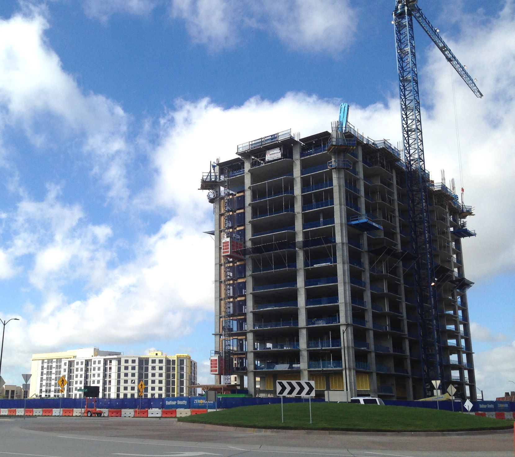 An apartment tower and two hotels are still under construction n Frisco Station.