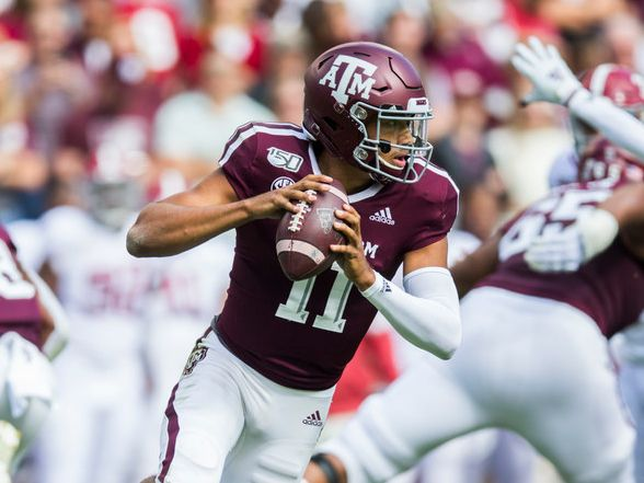 Texas A&M Aggies quarterback Kellen Mond (11) runs the ball during the first quarter of a college football game between Texas A&M and Alabama on Saturday, October 12, 2019 at Kyle Field in College Station, Texas.