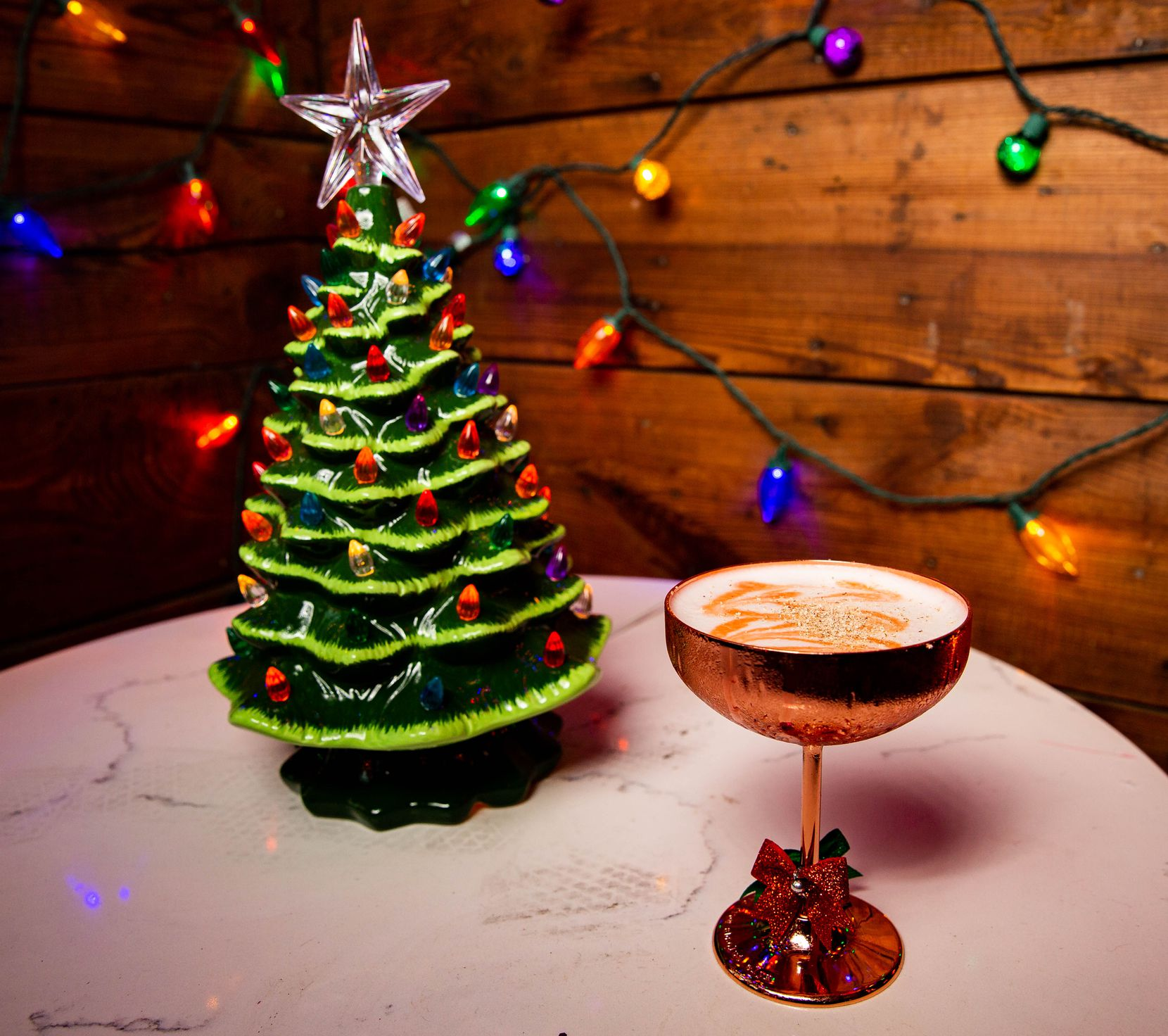 A vegan eggnog cocktail named Drink Up Grinches is one of a handful of drinks at the Tipsy Elf.