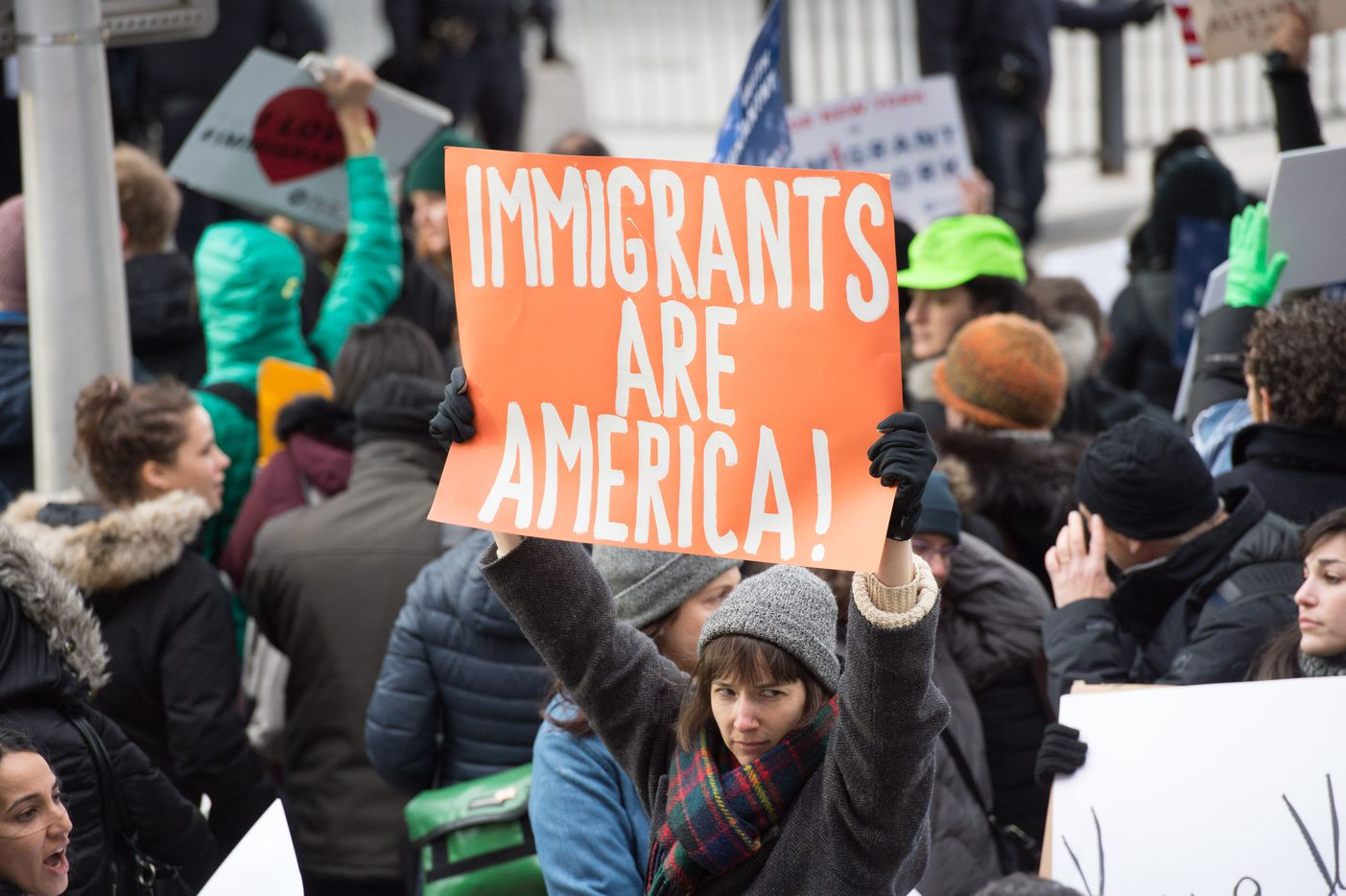 Protesters gather at JFK International Airport's Terminal 4 to demonstrate against President Donald Trump's executive order on January 28, 2017, in New York.