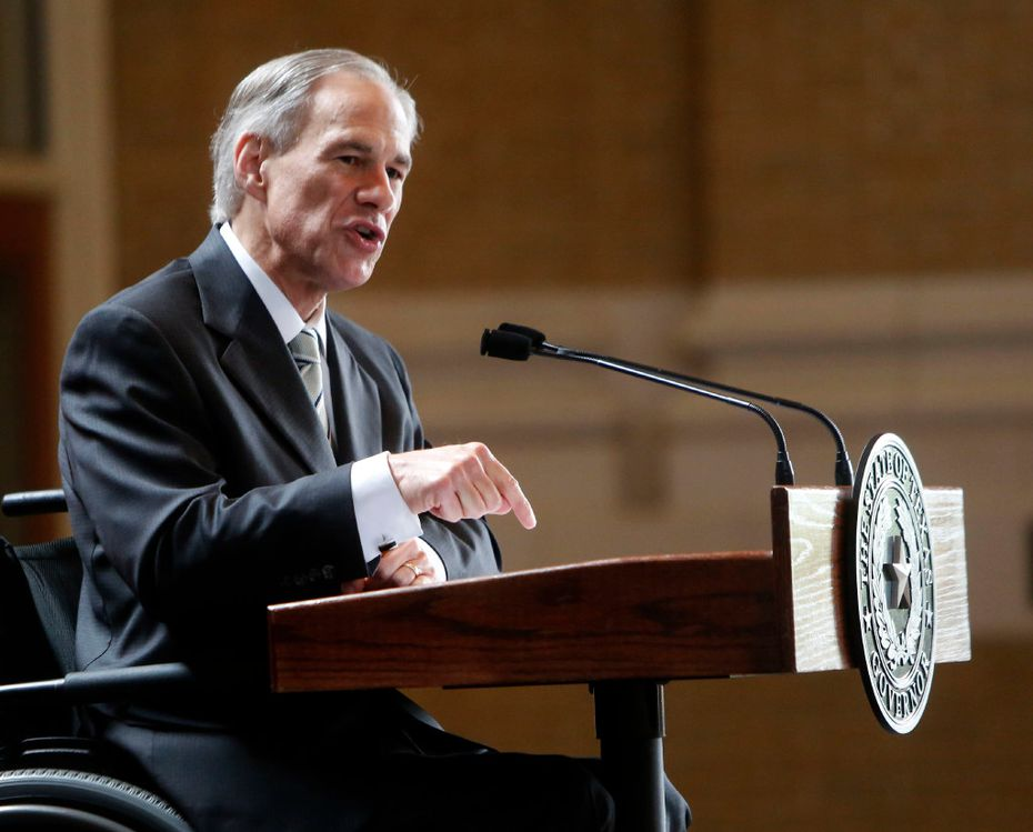 Texas Gov. Greg Abbott gives a State of the State address during a Dallas Regional Chamber meeting at Union Station in Dallas on Tuesday, March 28, 2017. (Rose Baca/The Dallas Morning News)