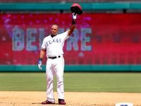 Texas Rangers Adrian Beltre (29) waves to crowd after achieving his 3,000th career hit in the fourth inning at Globe Life Park in Arlington, Sunday, July 30, 2017.