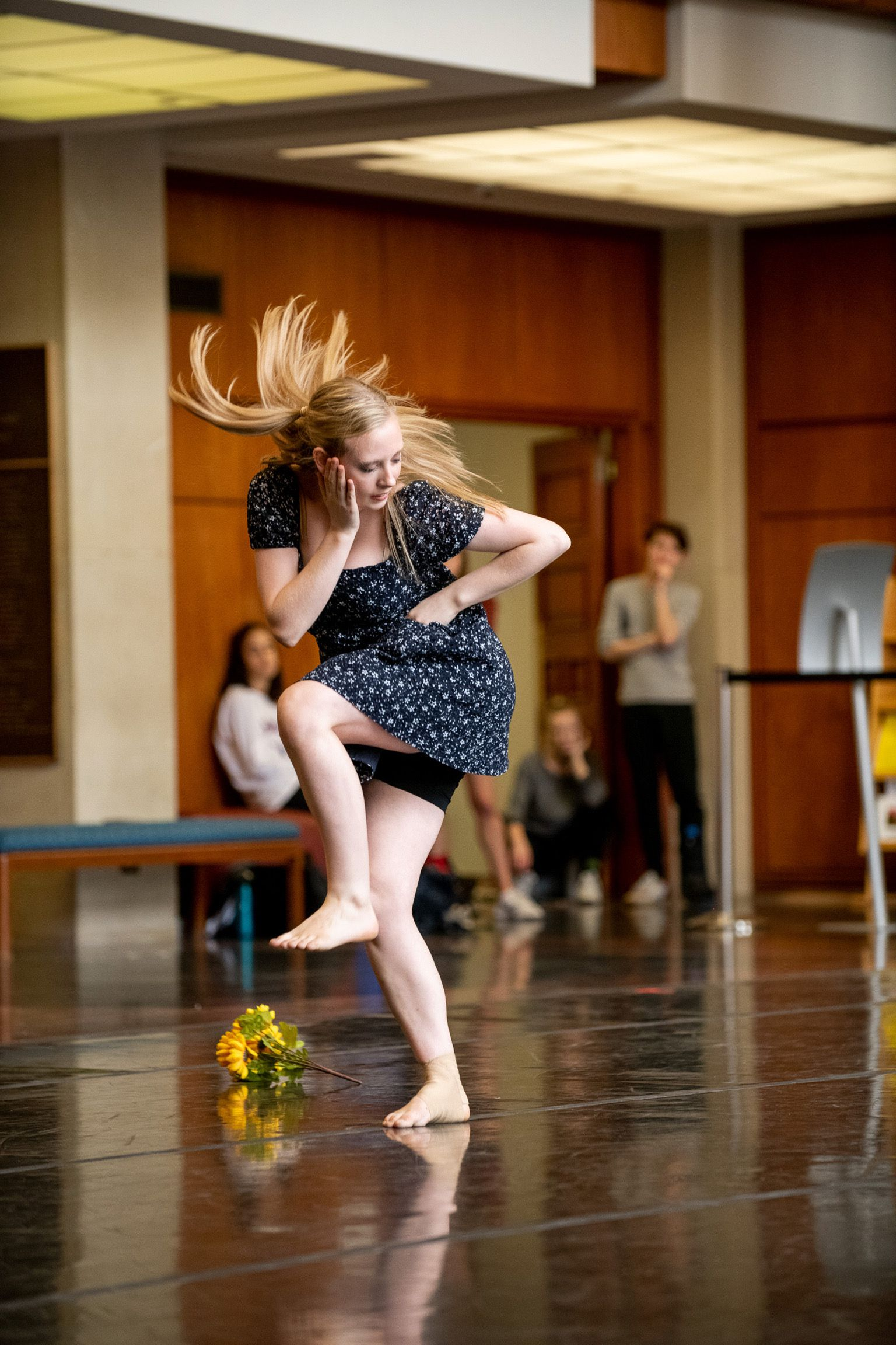 """Khris Beeson performing a self-choreographed solo """"Forget Me Not"""" from the SMU Dance Division's 2018 Fall Brown Bag Series. Beeson's dance background helped her provide clear recommendations for dressing room safety guidelines at the Dallas Theater Center."""