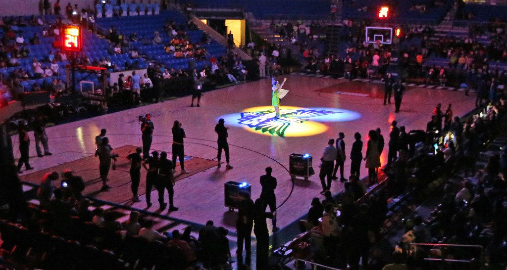 Dallas Wings mascot Lightning is illuminated by spotlights before the Dallas Wings vs. Phoenix Mercury WNBA basketball game at the UTA College Park Center in Arlington, Texas on Thursday, August 10, 2017.