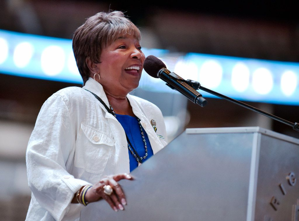 Congresswoman Eddie Bernice Johnson speaks during the Together We Heal event on Saturday, July 15, 2017 at the American Airlines Center in Dallas. The celebration event hosted by Year of Unity, was geared to help heal the city of Dallas and law enforcement with speakers and performances by the Mavs drum line, Mavs Champ and the Mavs ManiAACs. Ben Torres/Special Contributor