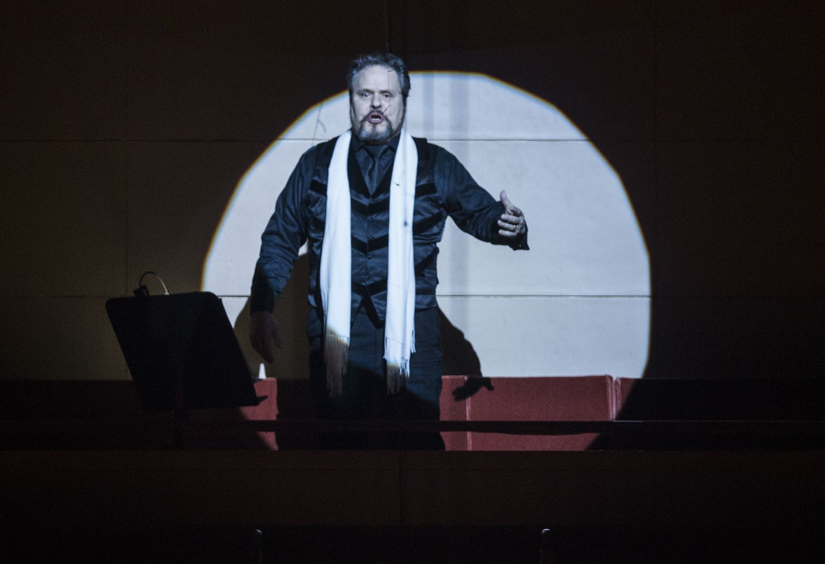 "Mark Delavan performs as Jochanaan, (John the Baptist), in The Dallas Symphony Orchestra's performance of Strauss' ""Salome,"" conducted by Fabio Luisi on Friday, January 31, 2020 at the Meyerson Symphony Center in Dallas."