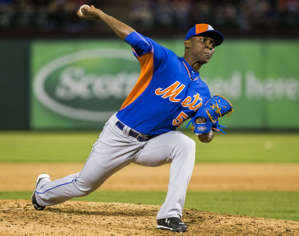 FILE - New York Mets starting pitcher Rafael Montero (50) pitches during their exhibition game against the Texas Rangers on Friday, April 3, 2015 at Globe Life Park in Arlington, Texas.  (Ashley Landis/The Dallas Morning News)