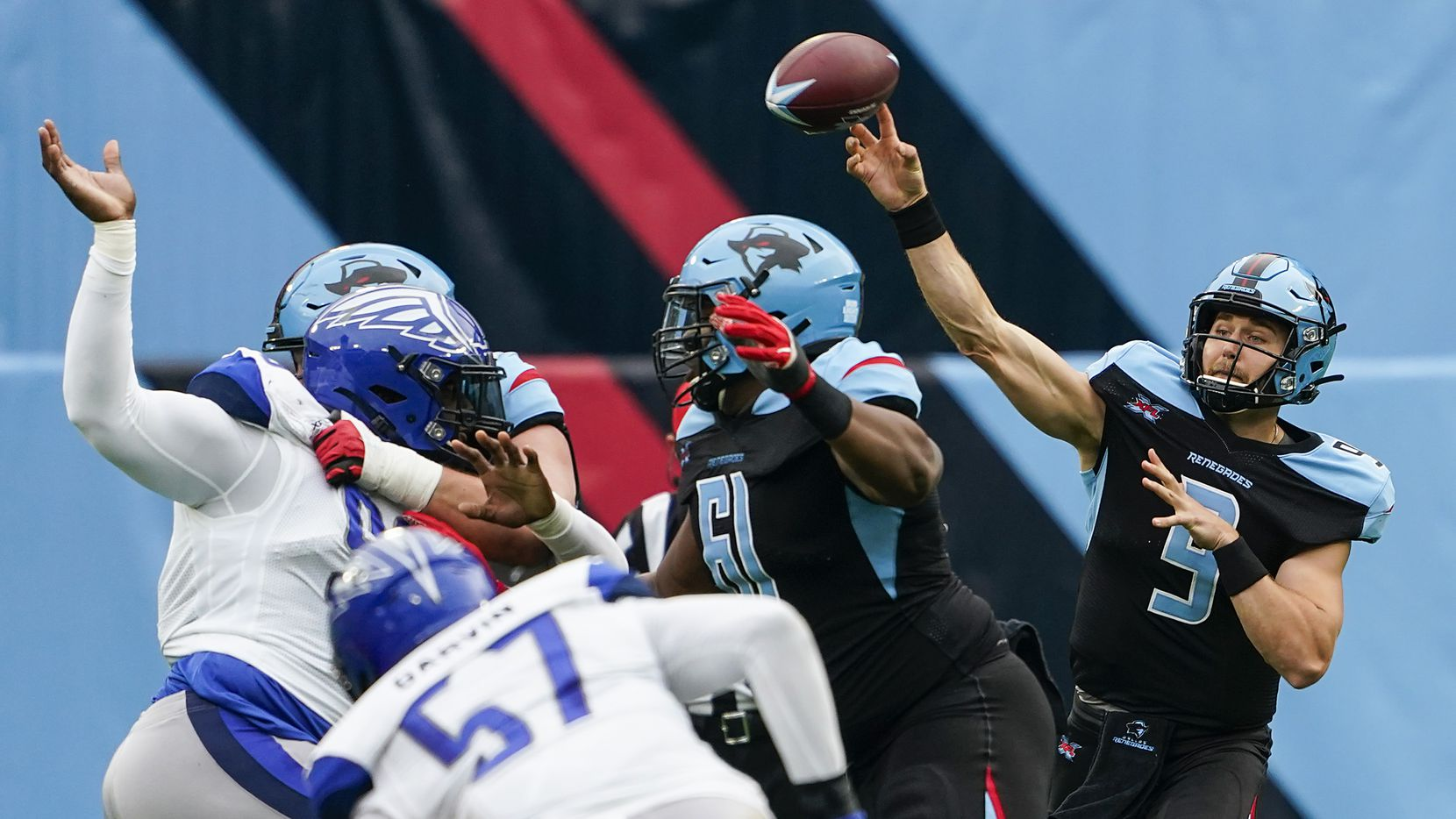 Dallas Renegades quarterback Philip Nelson (9) throws a pass during the first half of an XFL football game against the St. Louis Battlehawks at Globe Life Park on Sunday, Feb. 9, 2020, in Arlington.