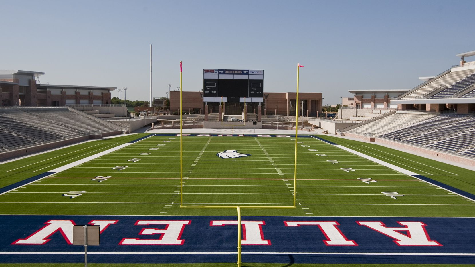 The view from the north end zone looking south at Eagle Stadium in Allen, on Aug. 3, 2012.