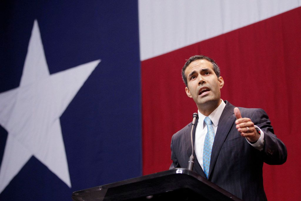 Texas Land Commissioner George P. Bush speaks at Texas Gov. Greg Abbott's election party in Austin, Texas, on Tuesday, Nov. 4, 2014. (Vernon Bryant/Dallas Morning News/MCT)