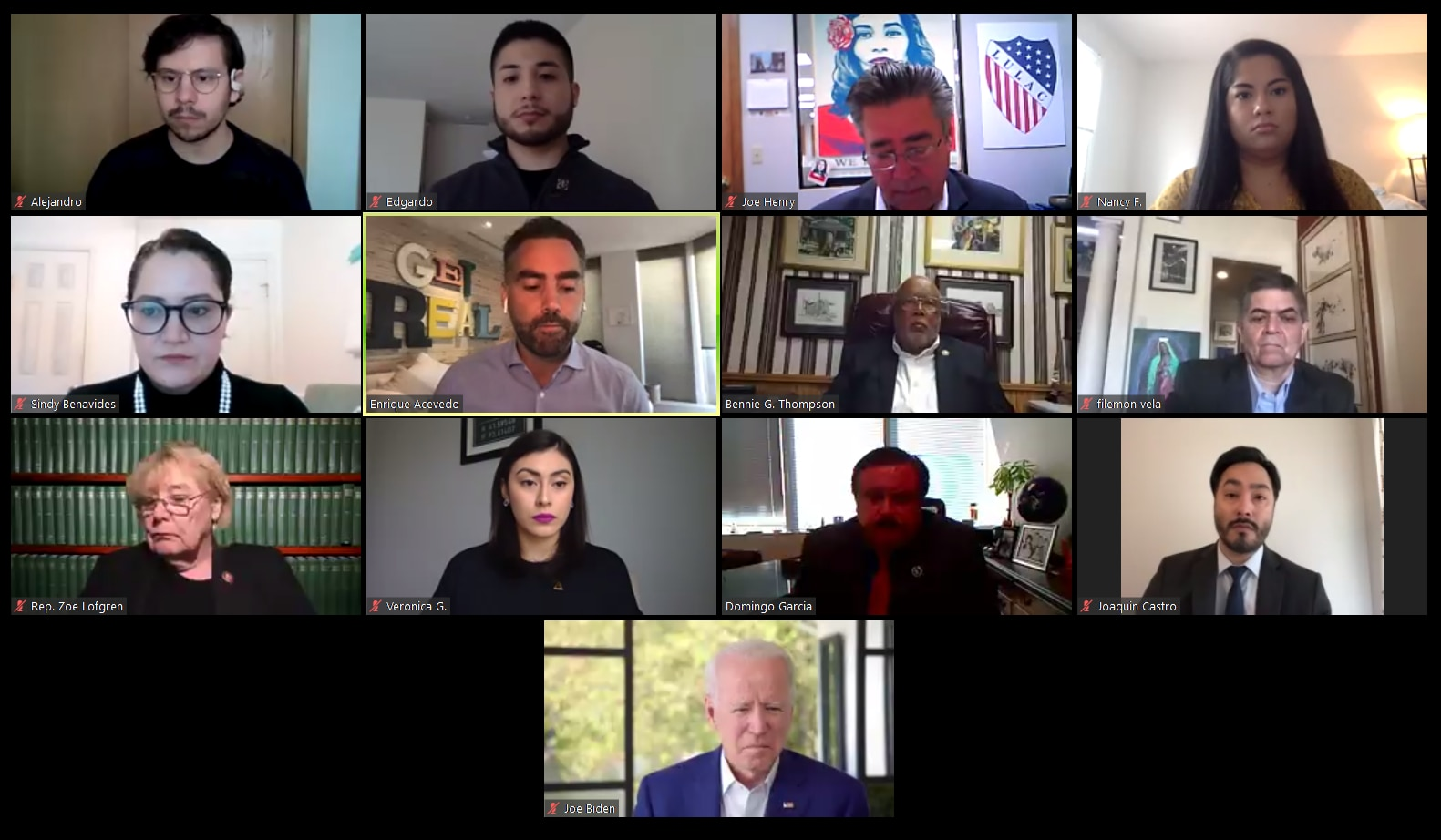 Joe Biden (bottom center) participated in a Zoom call hosted by LULAC on May 4, 2020.