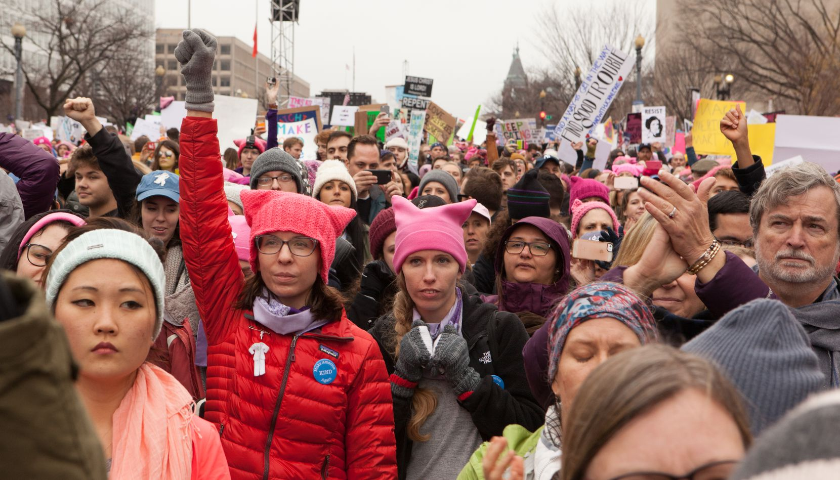 Women marched in Washington D.C. on Saturday, Jan. 21, following the inauguration of President Donald Trump.