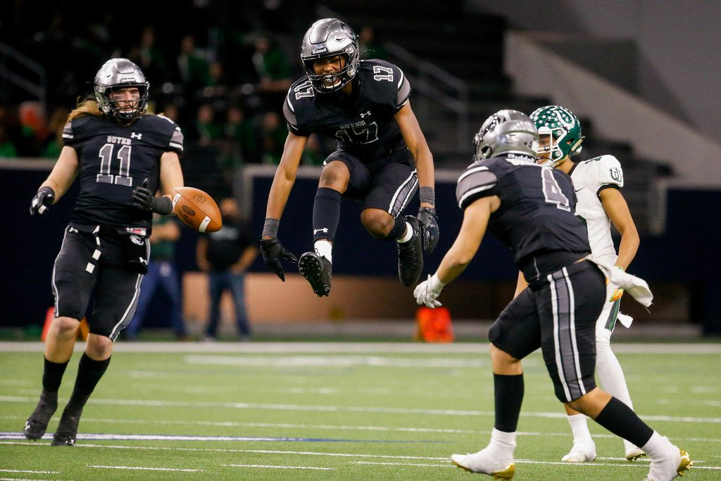 Denton GuyerÕs defensive back Jaden Fugett (17) (center) celebrates blocking a Guyer pass in the fourth quarter of a Class 6A Division II Region I semifinal game at the Star in Frisco, on Saturday, November 30, 2019. Guyer won 42-21 to advance to the regional final. (Juan Figueroa/The Dallas Morning News)