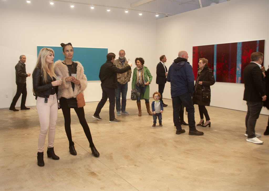 Guests at the opening of the exhibition White Noise, at 214 Projects, the new Dallas Art Fair exhibition and project space at River Bend in the Design District in Dallas.