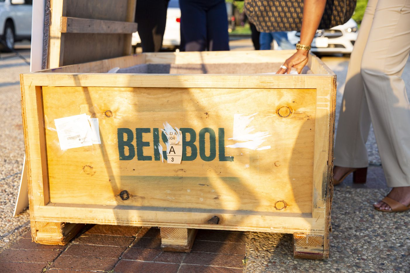 A crate holding part of the Negro League Baseball exhibit on Friday, June 18, 2021, at Fair Park in Dallas. The exhibit opens Saturday as part of the Juneteenth Celebration in Fair Park. (Juan Figueroa/The Dallas Morning News)
