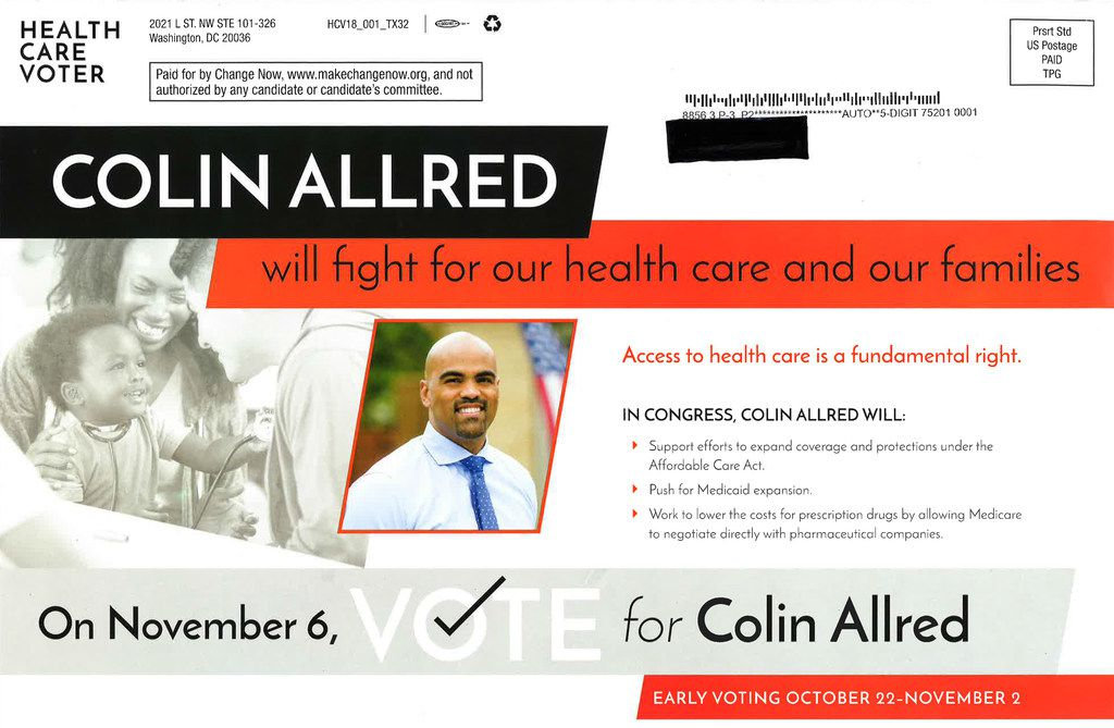 A Change Now political mailer in favor of Colin Allred. (Change Now)