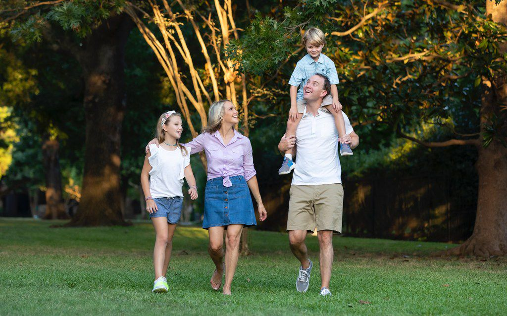 KXAS-TV (NBC5) anchor Meredith Land is shown with daughter McCall, 10, husband Xan and son Alexander, 6.