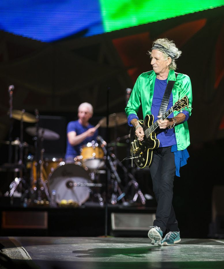 Keith Richards on stage during the Rolling Stones show at AT&T Stadium in Arlington, June 6, 2015.